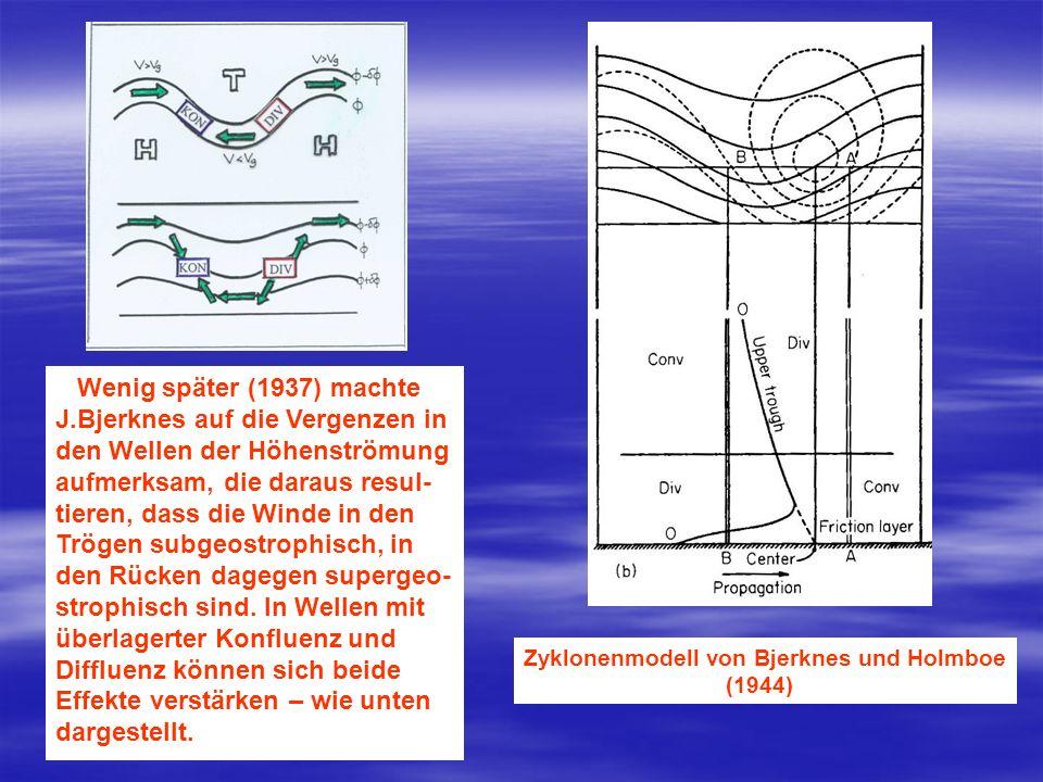 Wenig später (1937) machte J.Bjerknes auf die Vergenzen in den Wellen der Höhenströmung aufmerksam, die daraus resul- tieren, dass die Winde in den Tr