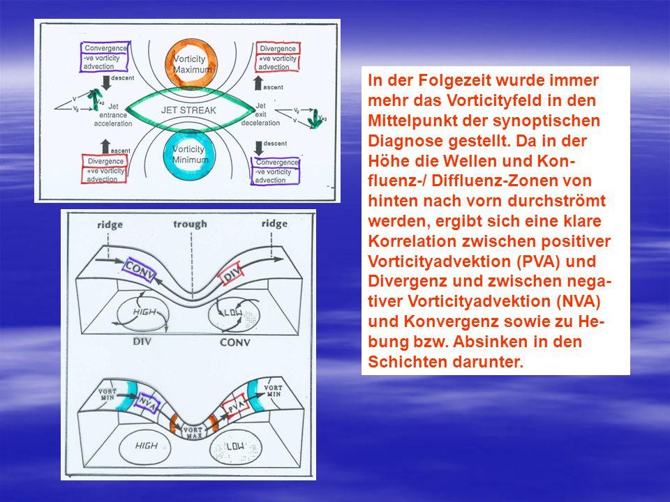 In der Folgezeit wurde immer mehr das Vorticityfeld in den Mittelpunkt der synoptischen Diagnose gestellt. Da in der Höhe die Wellen und Kon- fluenz-/