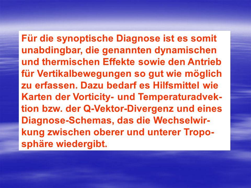 Für die synoptische Diagnose ist es somit unabdingbar, die genannten dynamischen und thermischen Effekte sowie den Antrieb für Vertikalbewegungen so g