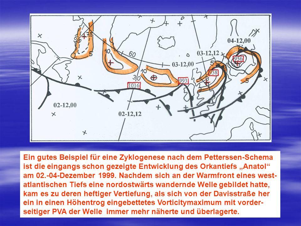 Ein gutes Beispiel für eine Zyklogenese nach dem Petterssen-Schema ist die eingangs schon gezeigte Entwicklung des Orkantiefs Anatol am 02.-04-Dezembe