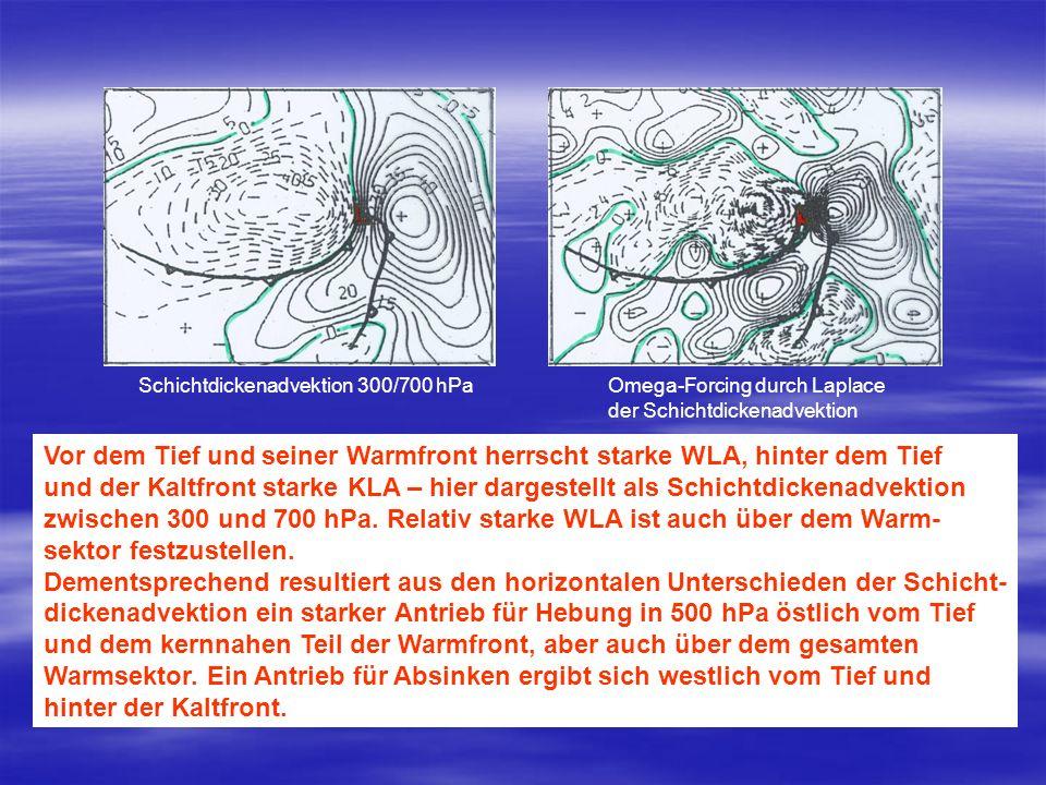 Schichtdickenadvektion 300/700 hPaOmega-Forcing durch Laplace der Schichtdickenadvektion Vor dem Tief und seiner Warmfront herrscht starke WLA, hinter