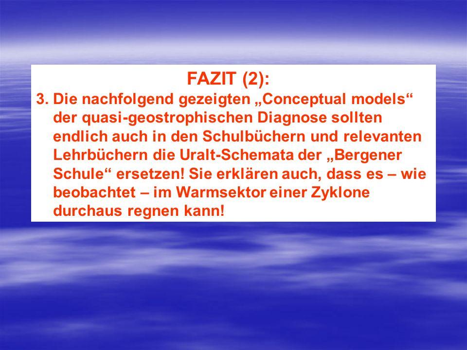 FAZIT (2): 3. Die nachfolgend gezeigten Conceptual models der quasi-geostrophischen Diagnose sollten endlich auch in den Schulbüchern und relevanten L