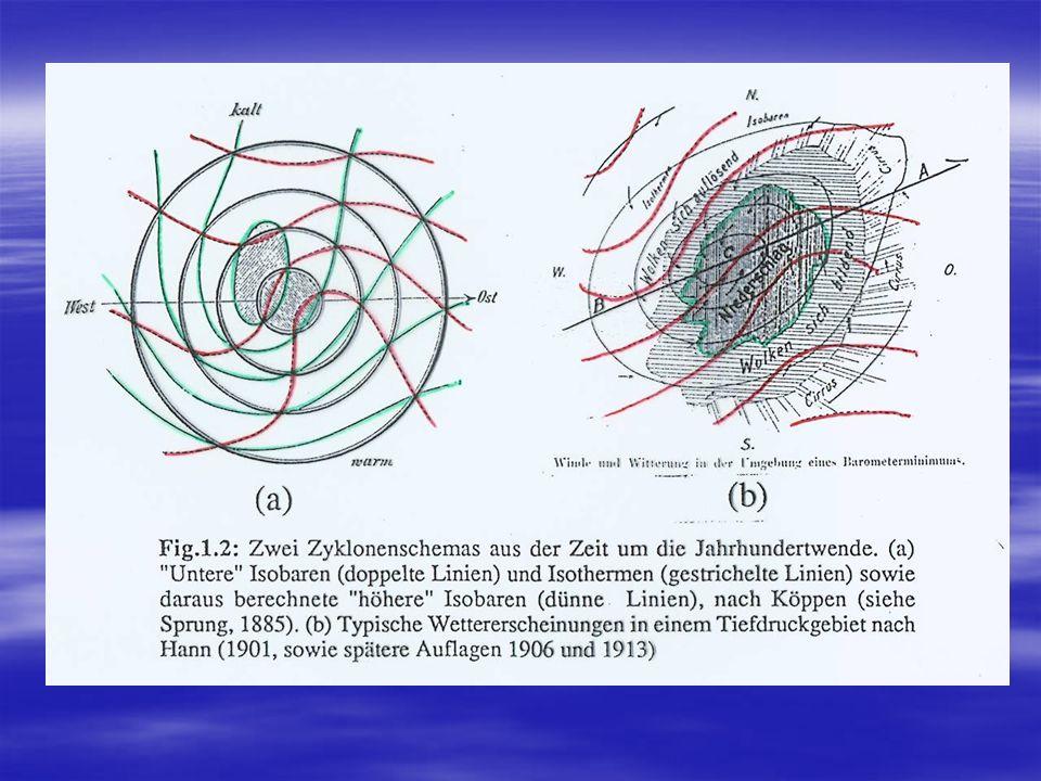 Die Bergener Schule (J.Bjerknes, Solberg et al.) gab in den Jahren ab 1919 die erste komplette Beschreibung der Zyklonenentwicklung über dem Nordatlantik und Westeuropa.