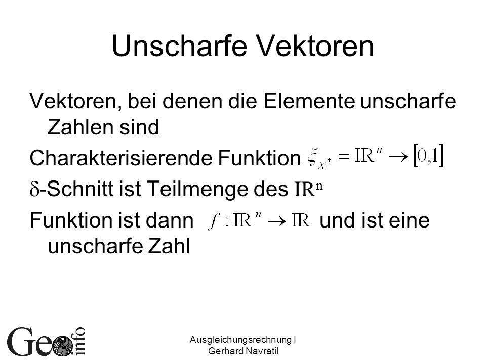 Ausgleichungsrechnung I Gerhard Navratil Unscharfe Vektoren Vektoren, bei denen die Elemente unscharfe Zahlen sind Charakterisierende Funktion -Schnitt ist Teilmenge des IR n Funktion ist dann und ist eine unscharfe Zahl