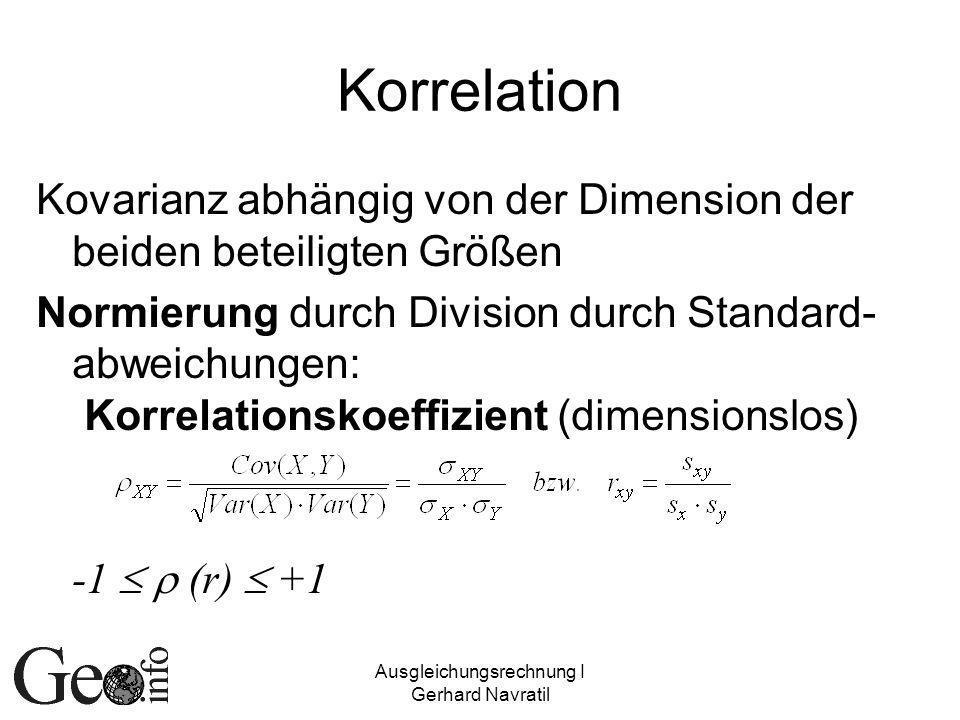 Ausgleichungsrechnung I Gerhard Navratil Woher kommt die Korrelation.
