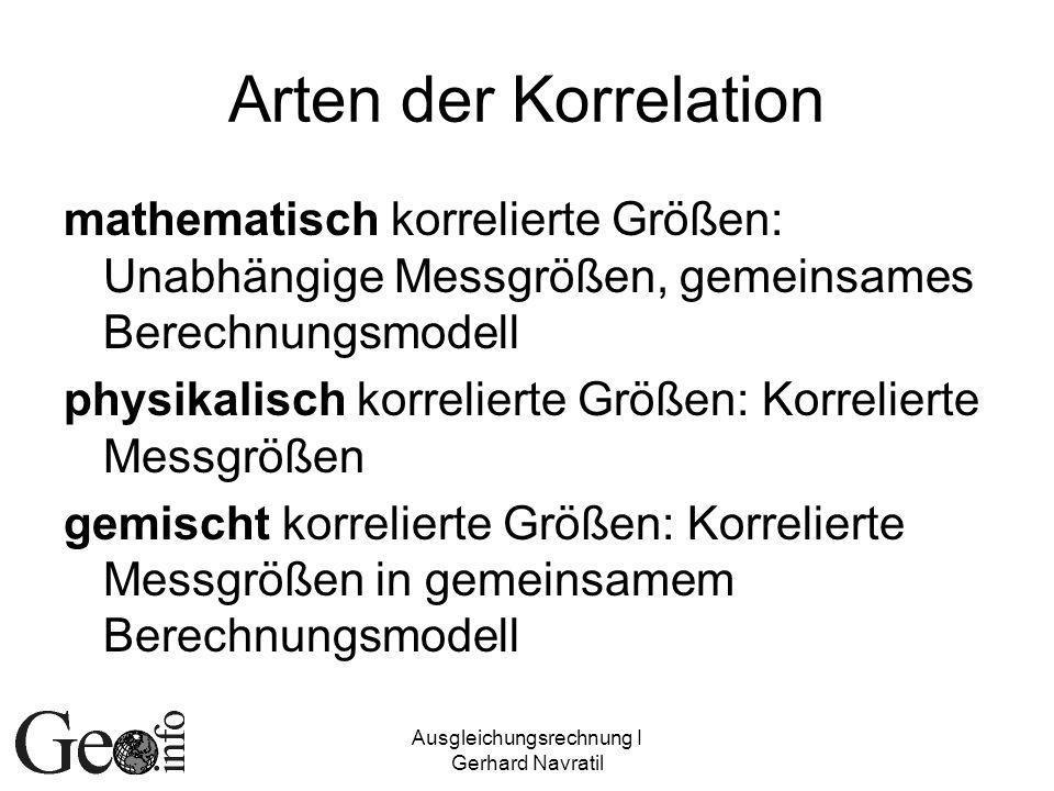 Ausgleichungsrechnung I Gerhard Navratil Korrelationsmatrix Zusammengefasste Korrelationskoeffizienten Hauptdiagonale: 1