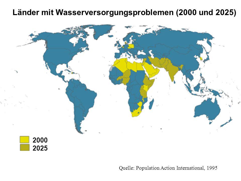 Länder mit Wasserversorgungsproblemen (2000 und 2025) Wasserknappe Länder, 2000 2000 2025 Quelle: Population Action International, 1995
