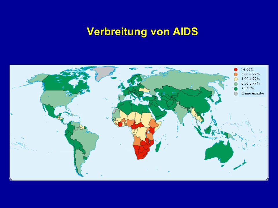 Verbreitung von AIDS >8,00% 1,00-4,99% Keine Angabe 5,00-7,99% <0,50% 0,50-0,99%