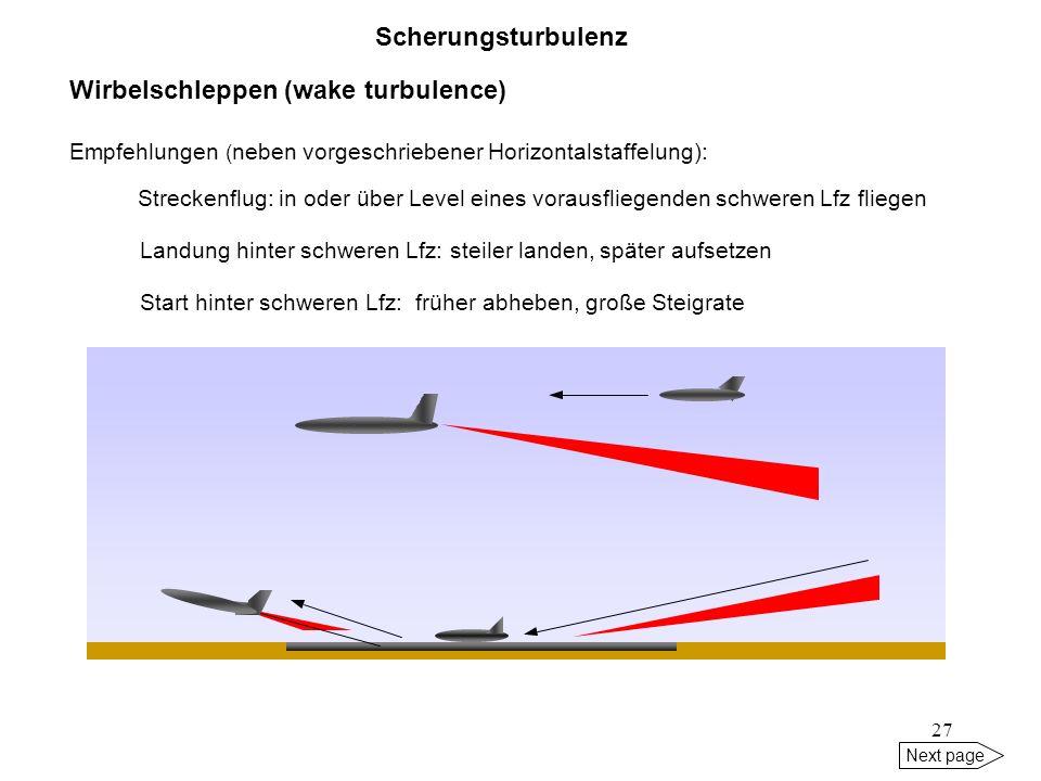 26 Next page 5kt5 Sinkrate 400-500 ft/min 800-900 ft Gleitpfad Landebahn Wind Verlagerung 100 kt 100 kt Scherungsturbulenz Wirbelschleppen (wake turbu