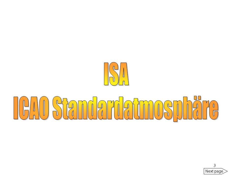 2 Next page 1. ICAO-Standardatmosphäre 2. Wettergefahren/hazards 3. Barometrische Höhenmessung 4. METAR 5. TAF 6. Übungen - QFE, QNH, QNE - height, al