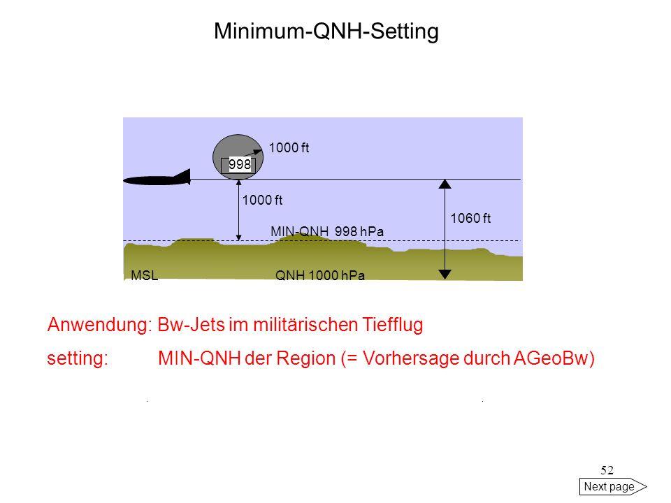 51 Next page Minimum-QNH-Setting MIN-QNH = das in dem jeweiligen Gebiet erwartete tiefste QNH (Vorhersage für 2 h) GE 1GE 2 GE 3GE 4 GE 5GE 6 GE 7GE 8