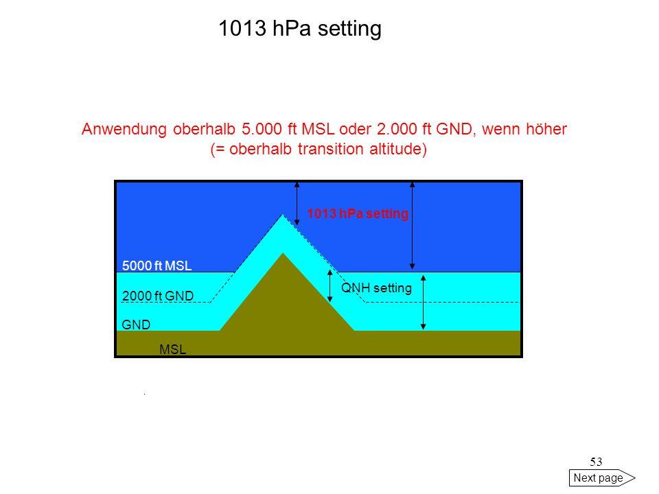 52 Next page MSL QNH 1000 hPa Anwendung: Bw-Jets im militärischen Tiefflug setting: MIN-QNH der Region (= Vorhersage durch AGeoBw) MIN-QNH 998 hPa 100