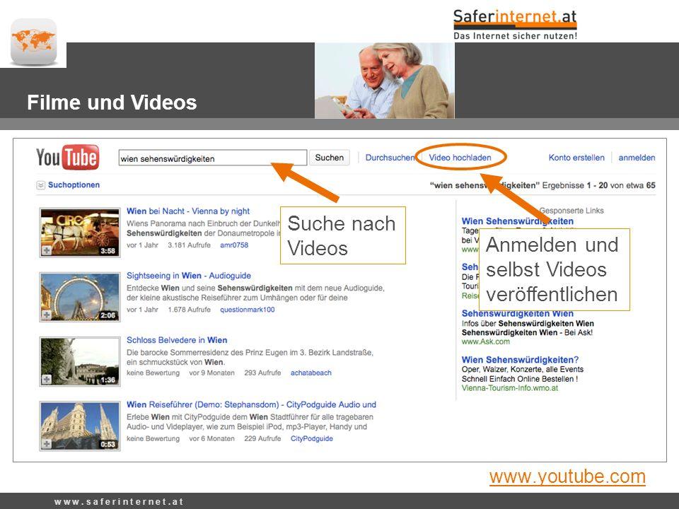 Anmelden und selbst Videos veröffentlichen w w w. s a f e r i n t e r n e t.