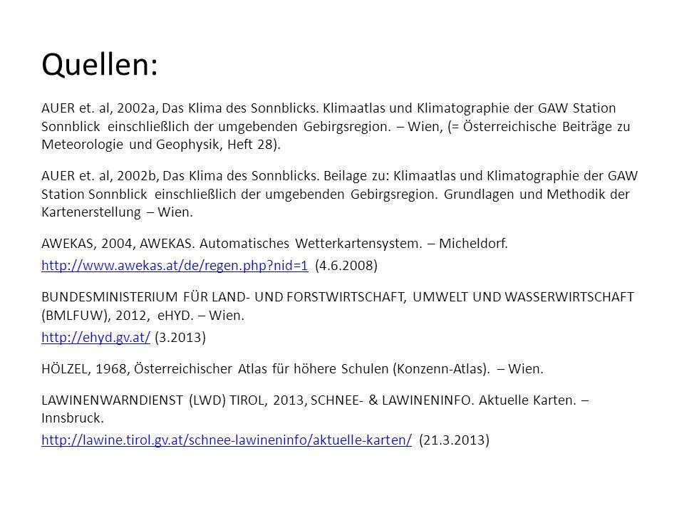 Quellen: AUER et. al, 2002a, Das Klima des Sonnblicks. Klimaatlas und Klimatographie der GAW Station Sonnblick einschließlich der umgebenden Gebirgsre