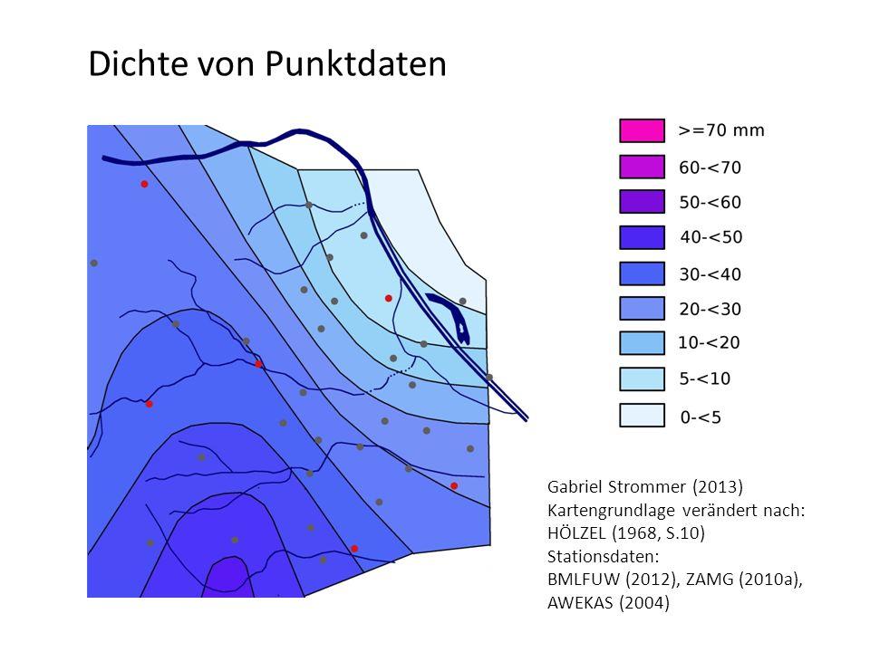 Dichte von Punktdaten Gabriel Strommer (2013) Kartengrundlage verändert nach: HÖLZEL (1968, S.10) Stationsdaten: BMLFUW (2012), ZAMG (2010a), AWEKAS (