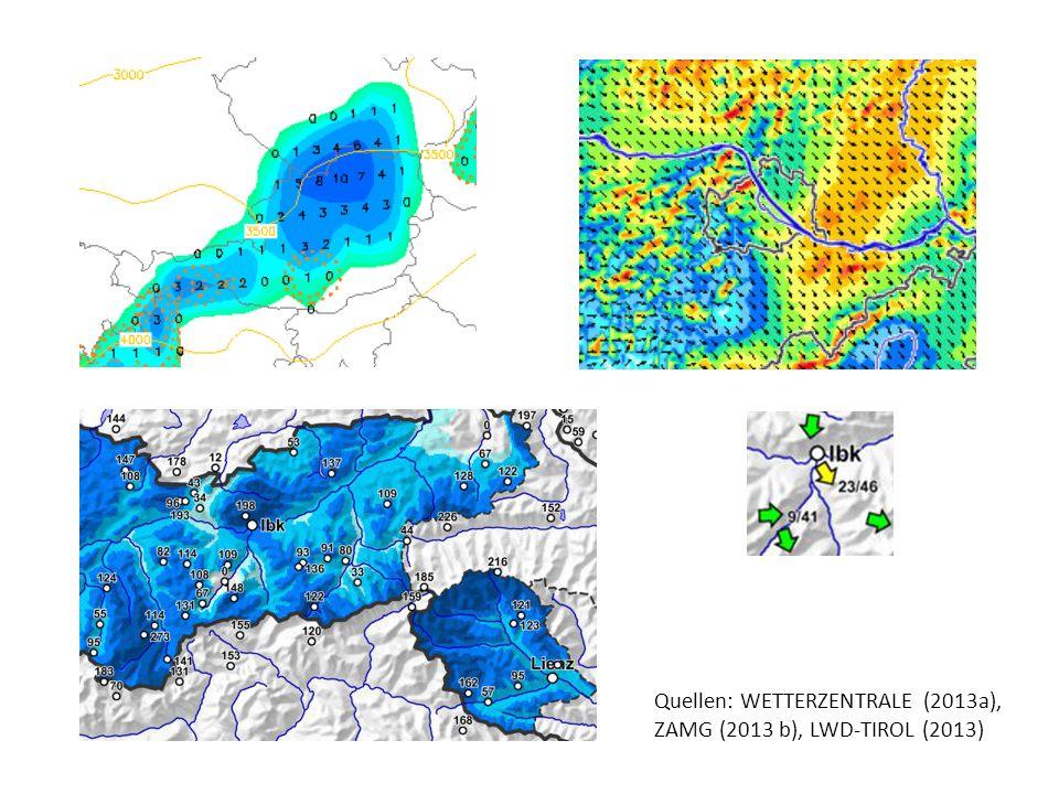 Quellen: WETTERZENTRALE (2013a), ZAMG (2013 b), LWD-TIROL (2013)