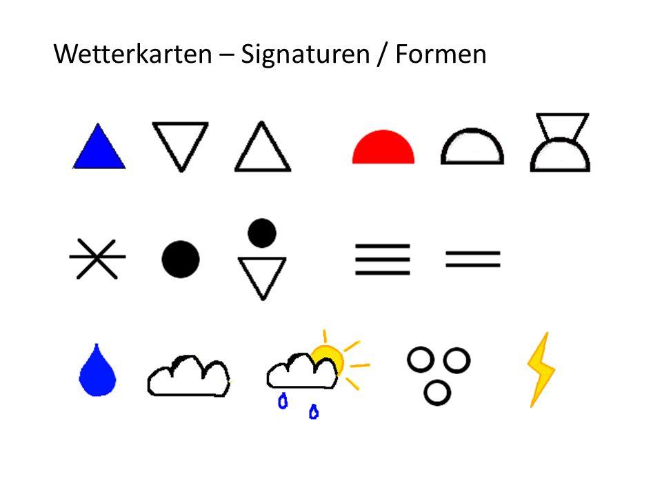 Wetterkarten – Signaturen / Formen