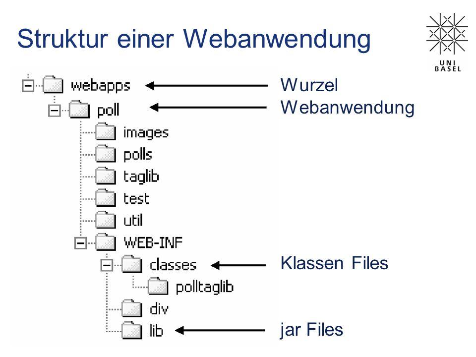 Seiten weiterleiten out.println( Uni Basel ); res.setHeader(Refresh,3); res.setHeader(Refresh,3; URL=http://www.unibas.ch); res.setStatus(res.SC_MOVED_TEMPORARILY); res.setHeader(Location,http://www.new.site); res.sendRedirect(http://www.new.site); RFC 2616 Hypertext Transfer Protocol (HTTP/1.1) http://www.rfc-editor.org