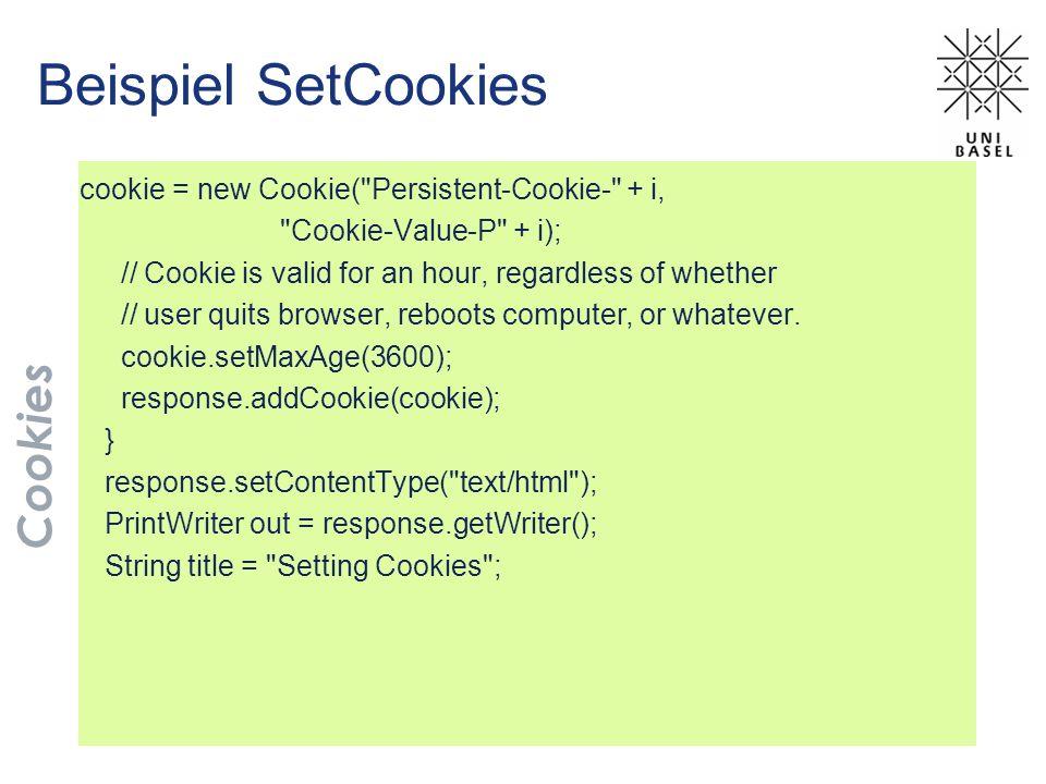 Beispiel SetCookies cookie = new Cookie(
