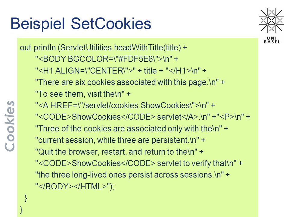 Beispiel SetCookies out.println (ServletUtilities.headWithTitle(title) +