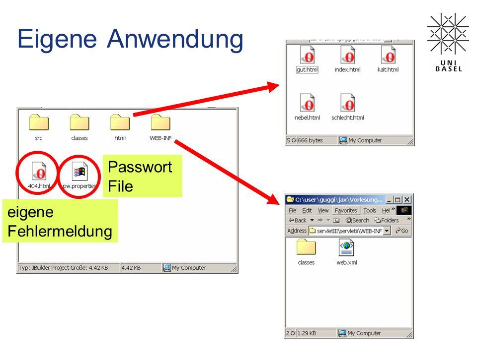 Eigene Anwendung im JBuilder Webanwendung WAR File Beschreibung der Anwendung Servlet Klassen Statische Seiten Fehlerseite Passwörter