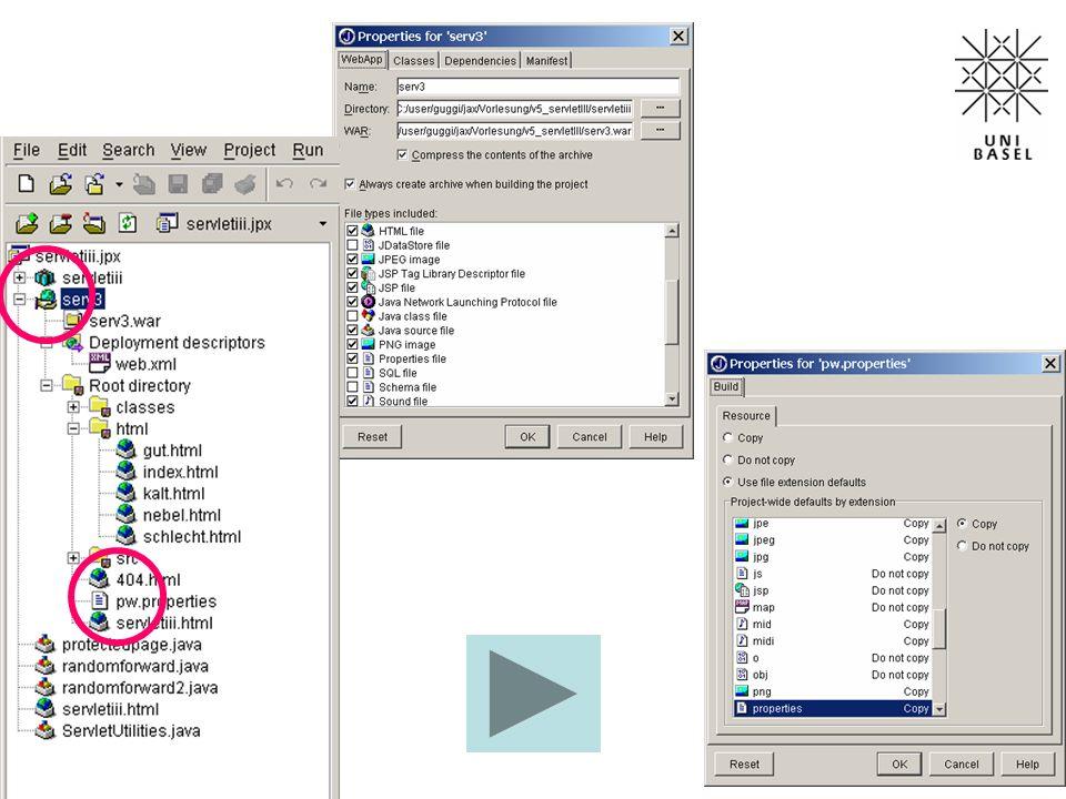 // Methode 1 //res.sendRedirect(req.getContextPath()+go); //res.flushBuffer(); // Methode 2 //res.setStatus(res.SC_MOVED_TEMPORARILY); //res.setHeader( Location ,req.getContextPath()+go); //res.flushBuffer(); // Methode 3 String dummy = 3; URL= +req.getContextPath()+go; res.setHeader( Refresh ,dummy); res.flushBuffer(); out.println( randomforward ); out.println( Hierhin kommen Sie nicht ); …