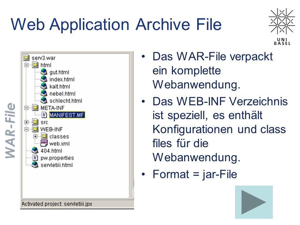 Web Application Archive File Das WAR-File verpackt ein komplette Webanwendung. Das WEB-INF Verzeichnis ist speziell, es enthält Konfigurationen und cl