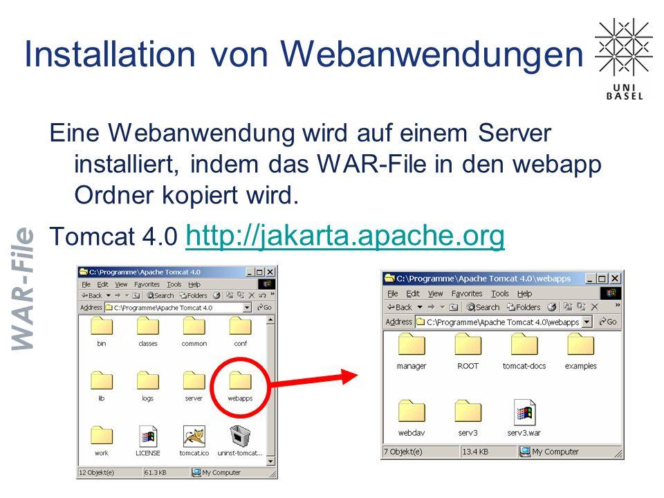 Installation von Webanwendungen Eine Webanwendung wird auf einem Server installiert, indem das WAR-File in den webapp Ordner kopiert wird. Tomcat 4.0