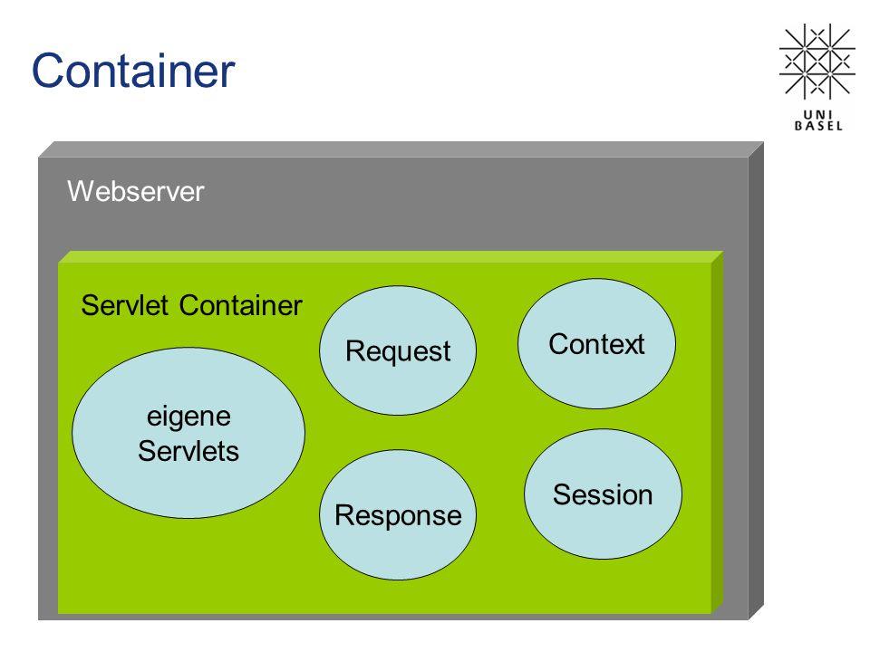 Container Servlet Container Webserver Request Response Context Session eigene Servlets