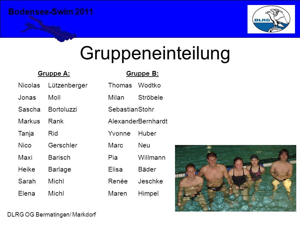 Bodensee-Swim 2011 DLRG OG Bermatingen/ Markdorf Gruppeneinteilung Gruppe A: NicolasLützenberger JonasMoll SaschaBortoluzzi MarkusRank TanjaRid NicoGe