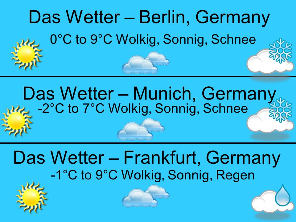 Das Wetter – Berlin, Germany 0°C to 9°C Wolkig, Sonnig, Schnee Das Wetter – Frankfurt, Germany Das Wetter – Munich, Germany -1°C to 9°C Wolkig, Sonnig, Regen -2°C to 7°C Wolkig, Sonnig, Schnee