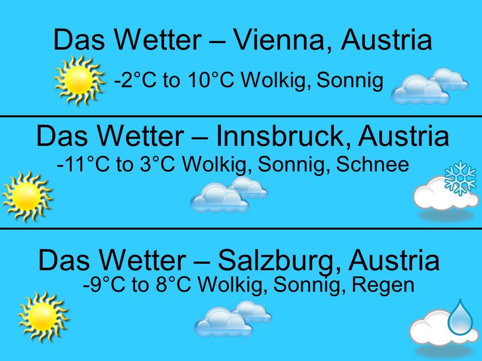 Das Wetter – Vienna, Austria -2°C to 10°C Wolkig, Sonnig Das Wetter – Salzburg, Austria Das Wetter – Innsbruck, Austria -9°C to 8°C Wolkig, Sonnig, Regen -11°C to 3°C Wolkig, Sonnig, Schnee