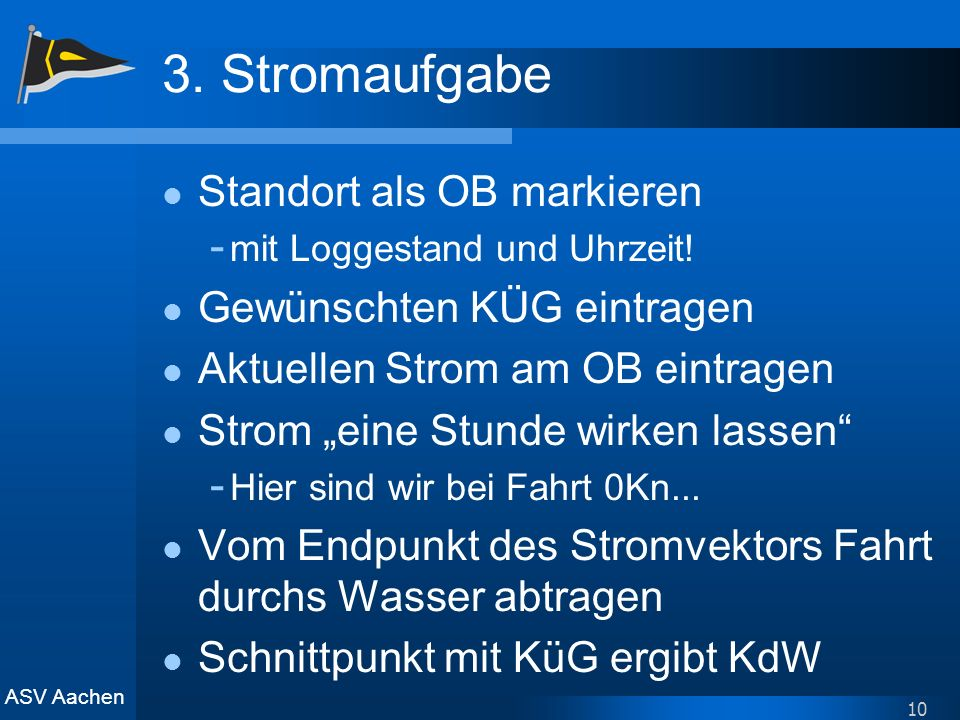 ASV Aachen 10 3. Stromaufgabe Standort als OB markieren - mit Loggestand und Uhrzeit! Gewünschten KÜG eintragen Aktuellen Strom am OB eintragen Strom
