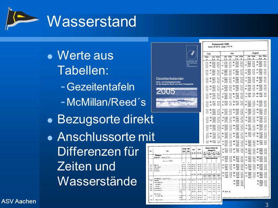 ASV Aachen 3 Wasserstand Werte aus Tabellen: - Gezeitentafeln - McMillan/Reed´s Bezugsorte direkt Anschlussorte mit Differenzen für Zeiten und Wassers