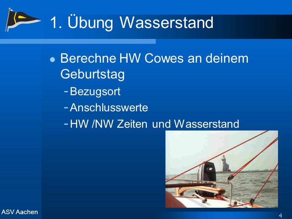 ASV Aachen 4 1. Übung Wasserstand Berechne HW Cowes an deinem Geburtstag - Bezugsort - Anschlusswerte - HW /NW Zeiten und Wasserstand