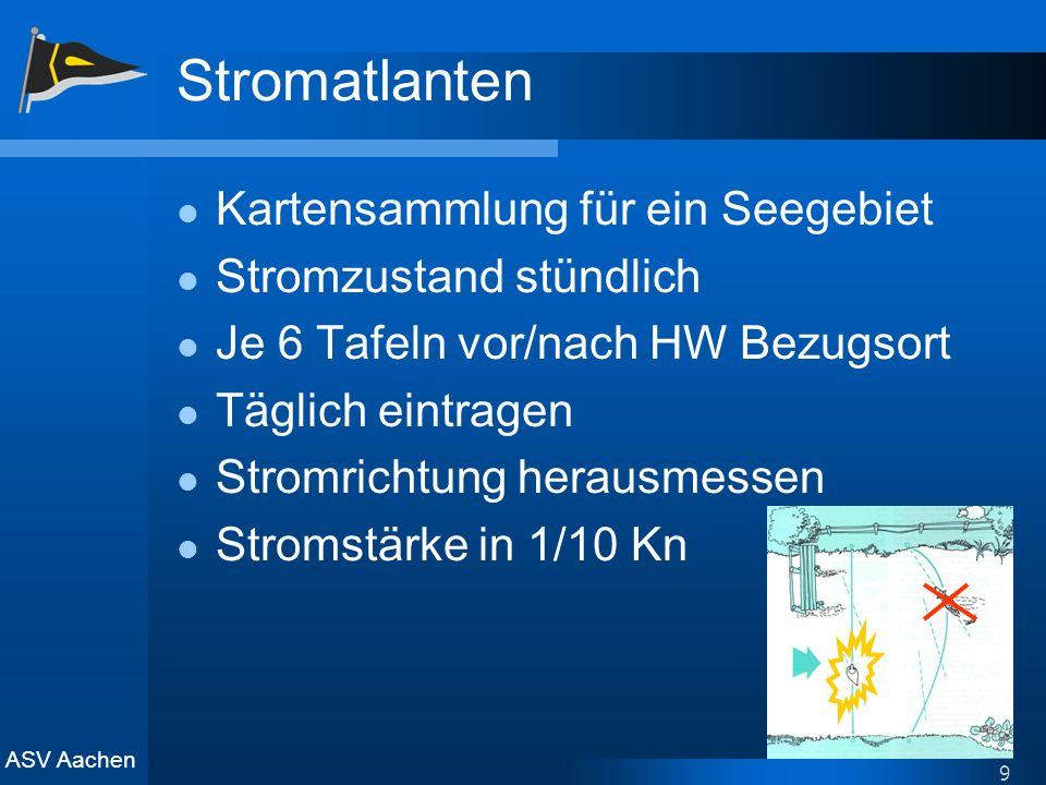 ASV Aachen 9 Stromatlanten Kartensammlung für ein Seegebiet Stromzustand stündlich Je 6 Tafeln vor/nach HW Bezugsort Täglich eintragen Stromrichtung h