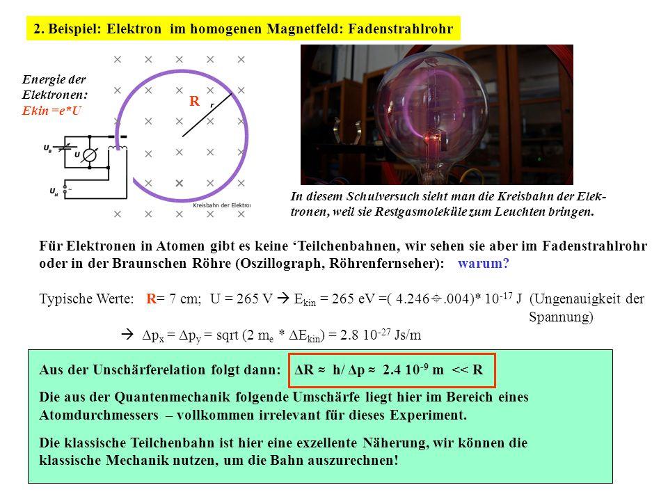 2. Beispiel: Elektron im homogenen Magnetfeld: Fadenstrahlrohr Energie der Elektronen: Ekin =e*U R In diesem Schulversuch sieht man die Kreisbahn der
