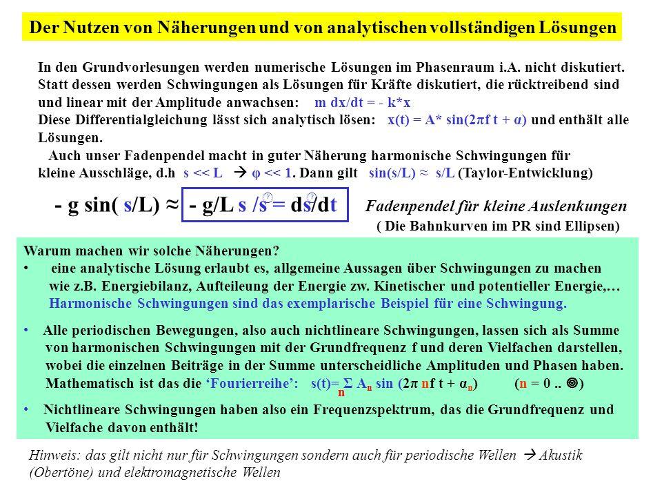 Der Nutzen von Näherungen und von analytischen vollständigen Lösungen In den Grundvorlesungen werden numerische Lösungen im Phasenraum i.A. nicht disk