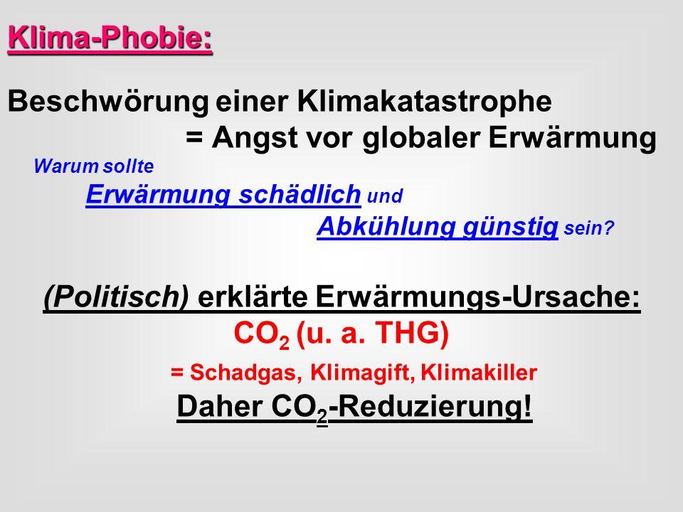 Klima-Phobie: Beschwörung einer Klimakatastrophe = Angst vor globaler Erwärmung Warum sollte Erwärmung schädlich und Abkühlung günstig sein? (Politisc
