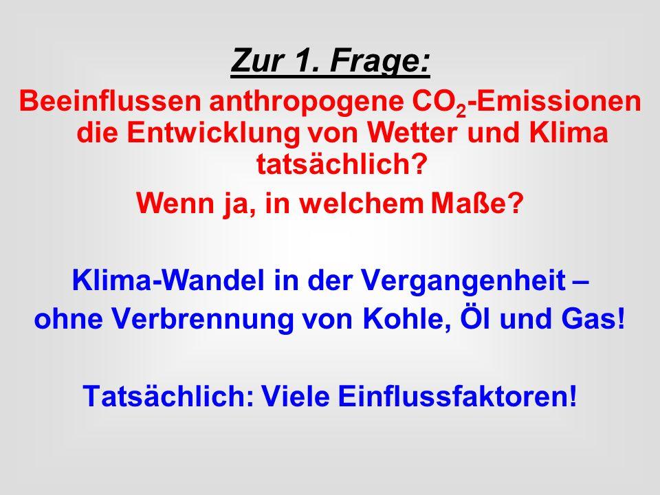 Zur 1. Frage: Beeinflussen anthropogene CO 2 -Emissionen die Entwicklung von Wetter und Klima tatsächlich? Wenn ja, in welchem Maße? Klima-Wandel in d