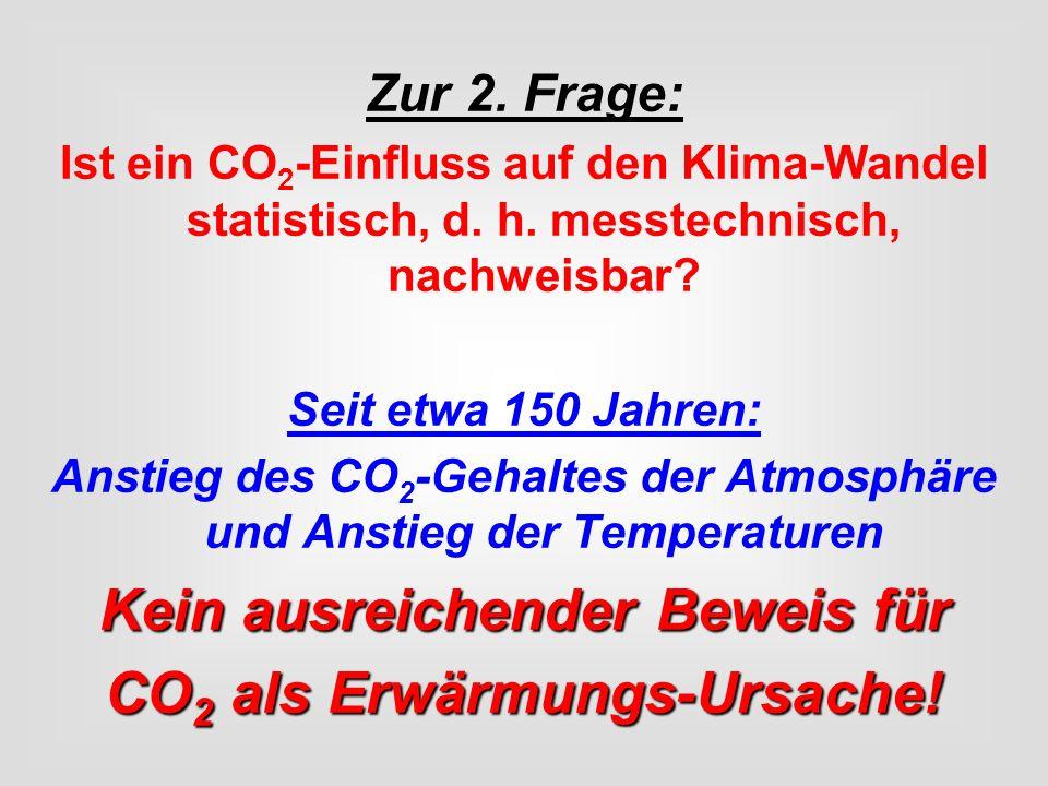 Zur 2. Frage: Ist ein CO 2 -Einfluss auf den Klima-Wandel statistisch, d. h. messtechnisch, nachweisbar? Seit etwa 150 Jahren: Anstieg des CO 2 -Gehal