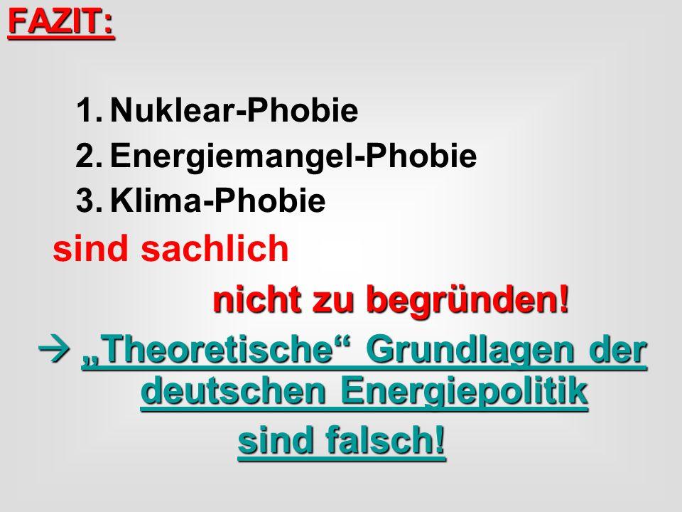 FAZIT: 1.Nuklear-Phobie 2.Energiemangel-Phobie 3.Klima-Phobie sind sachlich nicht zu begründen! Theoretische Grundlagen der deutschen Energiepolitik T