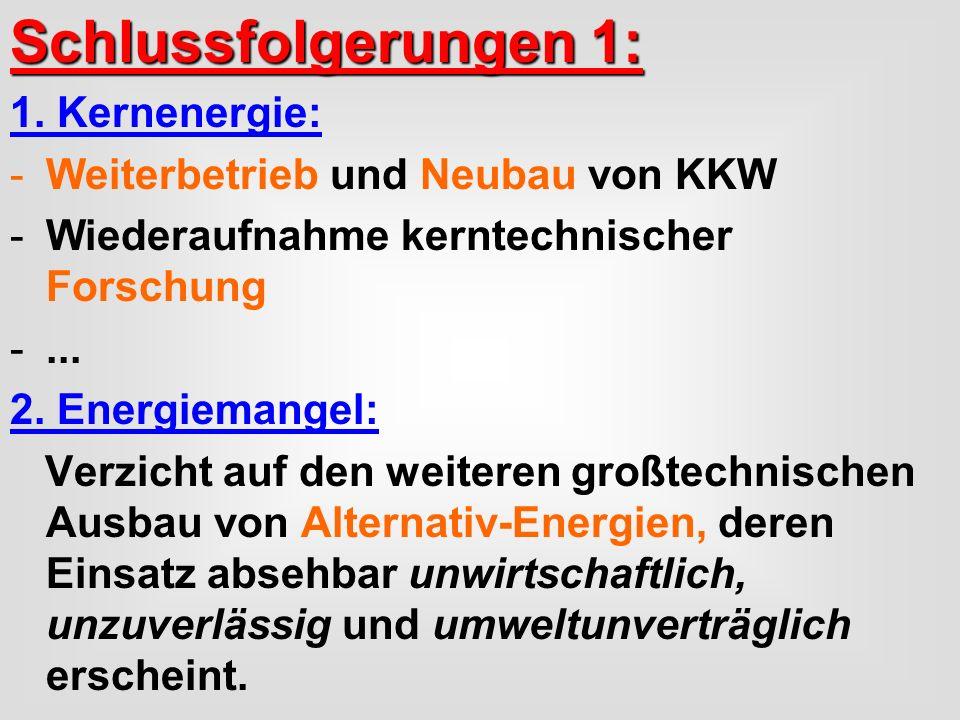 Schlussfolgerungen 1: 1. Kernenergie: -Weiterbetrieb und Neubau von KKW -Wiederaufnahme kerntechnischer Forschung -... 2. Energiemangel: Verzicht auf