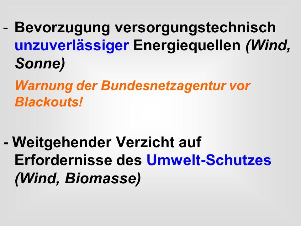 -Bevorzugung versorgungstechnisch unzuverlässiger Energiequellen (Wind, Sonne) Warnung der Bundesnetzagentur vor Blackouts! - Weitgehender Verzicht au