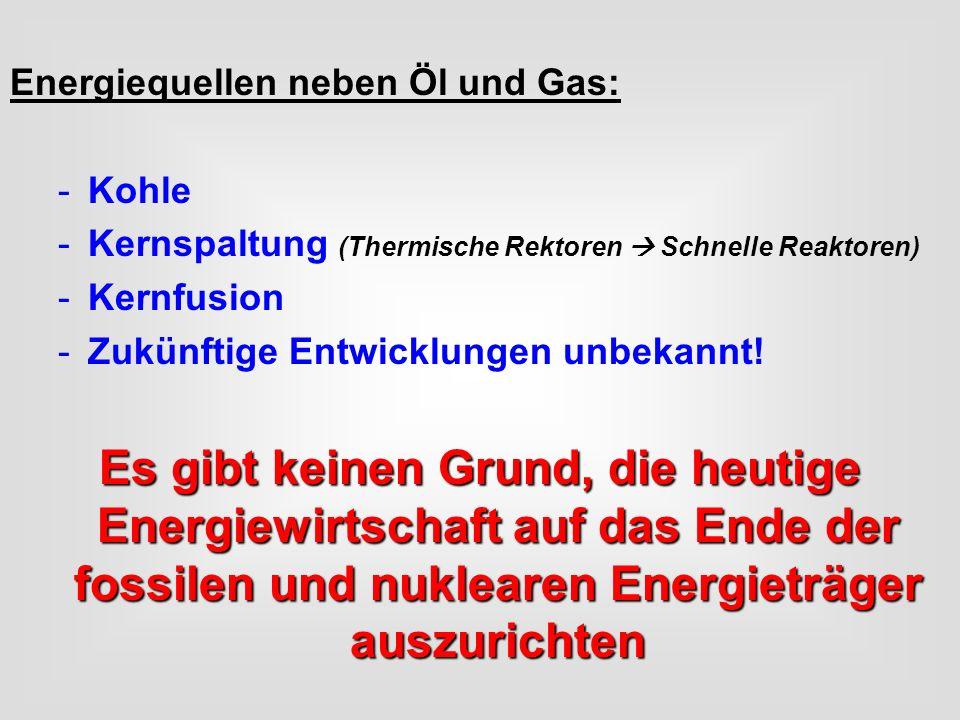 Energiequellen neben Öl und Gas: -Kohle -Kernspaltung (Thermische Rektoren Schnelle Reaktoren) -Kernfusion -Zukünftige Entwicklungen unbekannt! Es gib