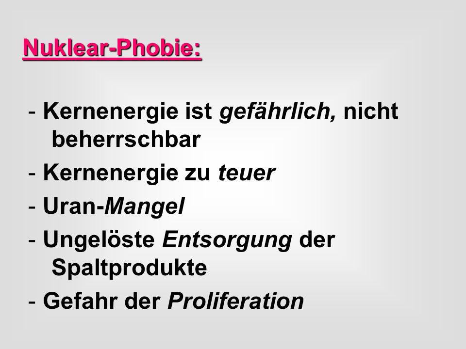 Nuklear-Phobie: -Kernenergie ist gefährlich, nicht beherrschbar -Kernenergie zu teuer -Uran-Mangel -Ungelöste Entsorgung der Spaltprodukte -Gefahr der