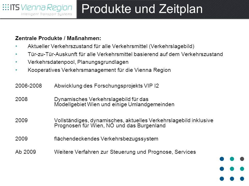 Produkte und Zeitplan Zentrale Produkte / Maßnahmen: Aktueller Verkehrszustand für alle Verkehrsmittel (Verkehrslagebild) Tür-zu-Tür-Auskunft für alle Verkehrsmittel basierend auf dem Verkehrszustand Verkehrsdatenpool, Planungsgrundlagen Kooperatives Verkehrsmanagement für die Vienna Region 2006-2008 Abwicklung des Forschungsprojekts VIP I2 2008 Dynamisches Verkehrslagebild für das Modellgebiet Wien und einige Umlandgemeinden 2009 Vollständiges, dynamisches, aktuelles Verkehrslagebild inklusive Prognosen für Wien, NÖ und das Burgenland 2009 flächendeckendes Verkehrsbezugssystem Ab 2009 Weitere Verfahren zur Steuerung und Prognose, Services