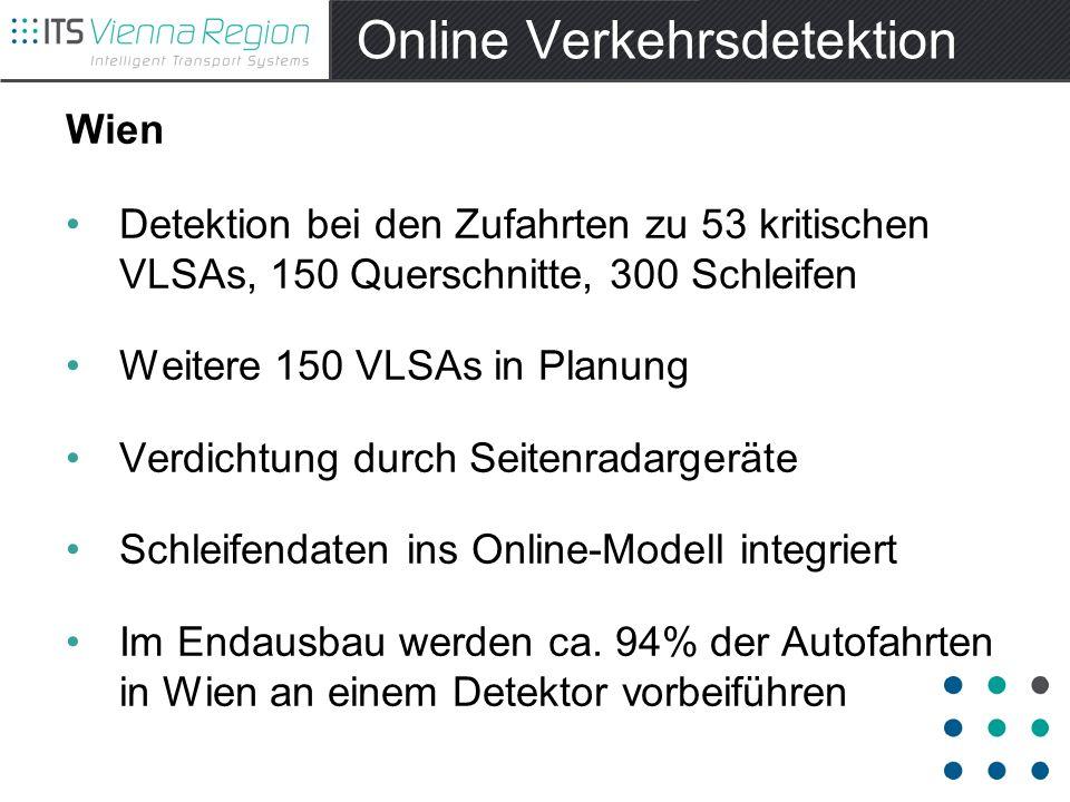 Online Verkehrsdetektion Wien Detektion bei den Zufahrten zu 53 kritischen VLSAs, 150 Querschnitte, 300 Schleifen Weitere 150 VLSAs in Planung Verdichtung durch Seitenradargeräte Schleifendaten ins Online-Modell integriert Im Endausbau werden ca.