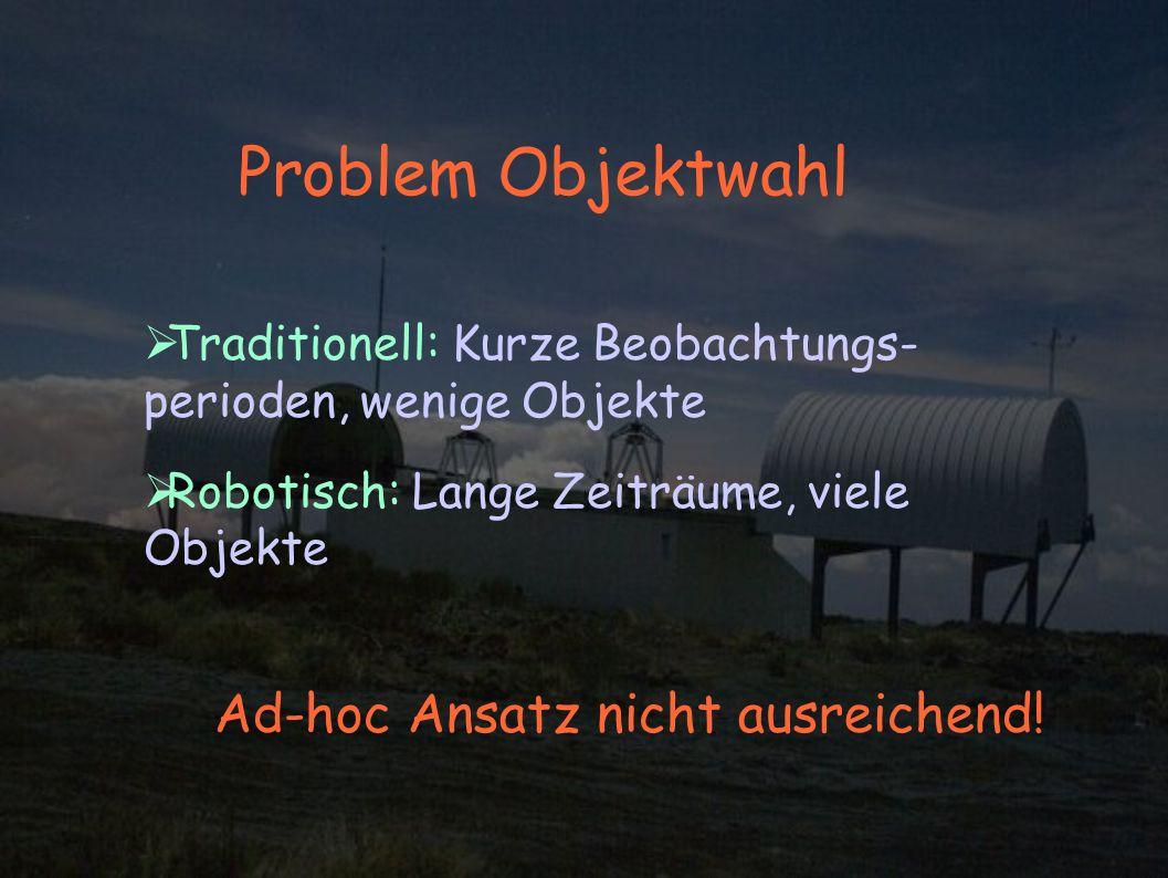 Problem Objektwahl Traditionell: Kurze Beobachtungs- perioden, wenige Objekte Robotisch: Lange Zeiträume, viele Objekte Ad-hoc Ansatz nicht ausreichend!