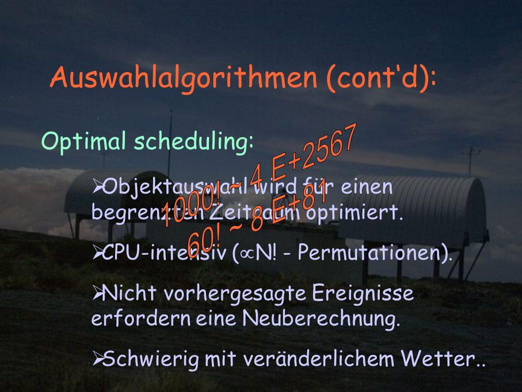 Auswahlalgorithmen (contd): Optimal scheduling: Objektauswahl wird für einen begrenzten Zeitraum optimiert.